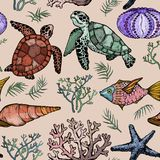 Seamless pattern with Ocean life organisms, shells, fish, corals, and turtle. Hand Drawn vector illustration Royalty Free Stock Images