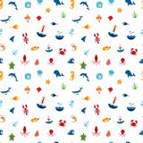 Seamless pattern ocean or sea with with animals and fish,. Shellfish and seashells. marine icon. use for the interface in the application Stock Photography