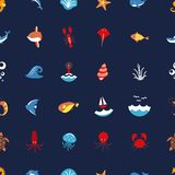 Seamless pattern ocean or sea with with animals and fish, shellfish and seashells. marine icon. use for the interface in Royalty Free Stock Image