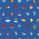 Seamless pattern ocean or sea with with animals and fish, shellfish and seashells. marine icon. use for the interface in Stock Images