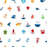Seamless pattern ocean or sea with with animals and fish, shellfish and seashells. marine icon. use for the interface in Royalty Free Stock Photo