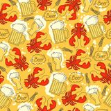 Seamless pattern for Octoberfest with crab, beer and  bubbles. Vector background with drink and crabs Royalty Free Stock Photos