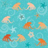 Seamless pattern with octopuses. Shells and stars Royalty Free Stock Image
