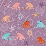 Seamless pattern with octopuses and stars. Seamless pattern with octopuses, shells and stars Stock Images