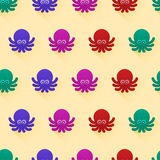 Seamless pattern with octopuses. Vector seamless pattern with color octopuses. Cute octopuses have fun Royalty Free Stock Photography
