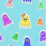 Seamless pattern octopuses. Vector seamless pattern with funny cartoon octopuses Stock Photos