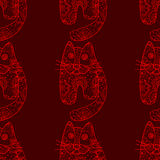 Seamless pattern od cats. Seamless pattern with cute cats, vector illustration Stock Photography