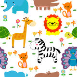 Seamless Pattern Of Animals Stock Images