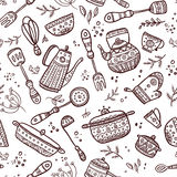 Seamless Pattern Of Kitchen Items Royalty Free Stock Photos