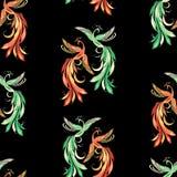 Seamless Pattern Of Pairs Of Fabulous Birds Stock Image