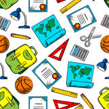 Seamless Pattern Of School And Education Supplies Stock Photos
