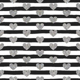 Seamless Pattern Of Silver Hearts Royalty Free Stock Images