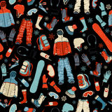 Seamless Pattern Of Snowboard Gear On Black Background. Stock Photography