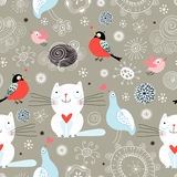 Seamless Pattern Of The Cats And Birds Stock Image