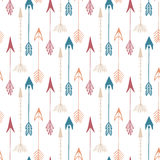 Seamless Pattern Of Vintage Arrow. Hand Drawn Arrows Texture For Textile, Print, Web, Wrapping. Vector Stock Images