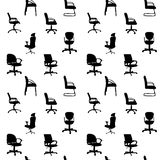 Seamless pattern of Office chairs silhouettes Stock Photo