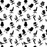 Seamless pattern of Office chairs silhouettes Stock Images