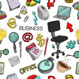 Seamless pattern of office supplies. A collection of stationery in doodle style stock illustration