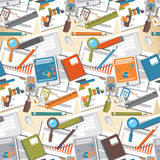 Seamless pattern of office supplies in a flat style Stock Image
