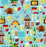 Seamless pattern with oktoberfest celebration symbols.. Flat design vector illustration with oktoberfest celebration symbols. Oktoberfest celebration design Stock Photo