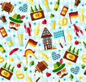 Seamless pattern with oktoberfest celebration symbols. Flat design vector illustration with oktoberfest celebration symbols. Oktoberfest celebration design with Stock Photos