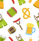 Seamless Pattern with Oktoberfest Symbols Stock Photos