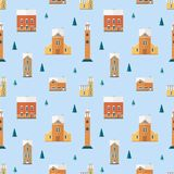Seamless pattern with old buildings, clock towers, spruce trees. Backdrop with city houses of European architecture Vector Illustration