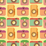 Seamless pattern with old cameras. Royalty Free Stock Photo