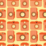 Seamless pattern with old cameras. Stock Image