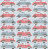 Seamless pattern with old cars on light blue background Royalty Free Stock Images