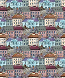 Seamless pattern of the old city rooftops. Seamless pattern for your design stock image