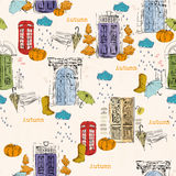Seamless pattern with old doors, clouds, rain, pumpkins, telephone booth, rubber boots, bench in vintage style. Stock Image