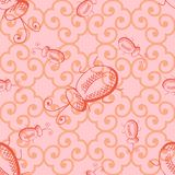 A seamless pattern with an old faded background and beetles. In vector, fun as wallpaper or fabric or as background. In the colors pink and red and orange Stock Photo
