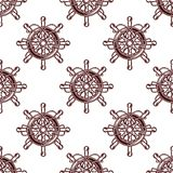 Seamless pattern of an old-fashioned ships wheel Royalty Free Stock Photo