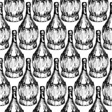 Seamless pattern with old-fashioned wine bottles Stock Photography