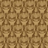 Seamless pattern with old-fashioned wine bottles Royalty Free Stock Photo