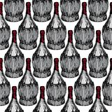 Seamless pattern with old-fashioned wine bottles Royalty Free Stock Photography