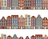 Seamless pattern with old historic buildings of Amsterdam. Flat style vector illustration. Royalty Free Stock Photography