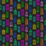 Seamless pattern with old historic buildings of Amsterdam. Flat style vector illustration. Stock Image