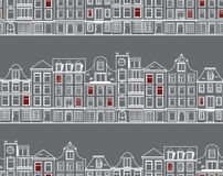 Seamless pattern with old historic buildings of Amsterdam. Flat style vector illustration. Stock Images