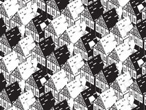 Seamless pattern with old historic buildings of Europe. Flat style  illustration. Stock Photos