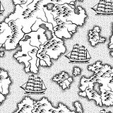 Seamless pattern with old nautical map. Stock Photography