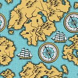 Seamless pattern with old nautical map. Royalty Free Stock Photos