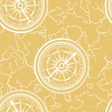 Seamless pattern with old nautical map. Stock Photos