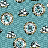 Seamless pattern with old nautical map. Royalty Free Stock Image