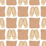 Seamless pattern with Old Russian bast shoes and birch-bark baskets. Seamless vector pattern with Old Russian bast shoes and birch-bark baskets on white royalty free illustration