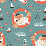Seamless pattern with old sailor,lifebuoy,fish,vessel and anchor Stock Images