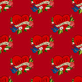 Seamless pattern in old school tattoo style. Seamless pattern with hearts in old school tattoo style. Valentines Day Romantic image with letter on red vector illustration