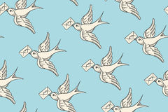 Seamless pattern with old school vintage bird and postal envelope Stock Image