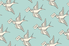 Seamless pattern with old school vintage bird and postal envelope Stock Photography